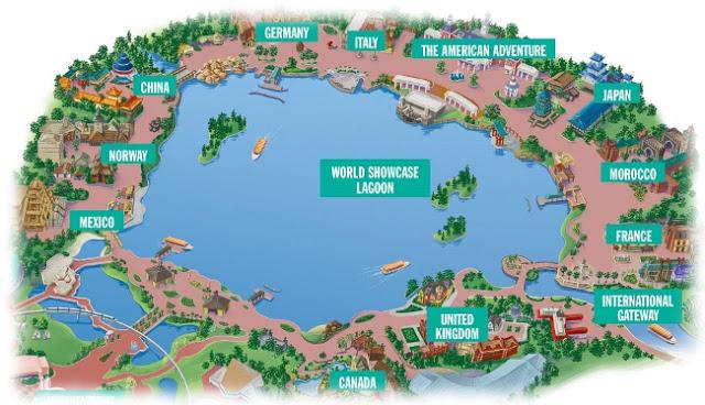Mapa del Parque Disney Epcot en Orlando
